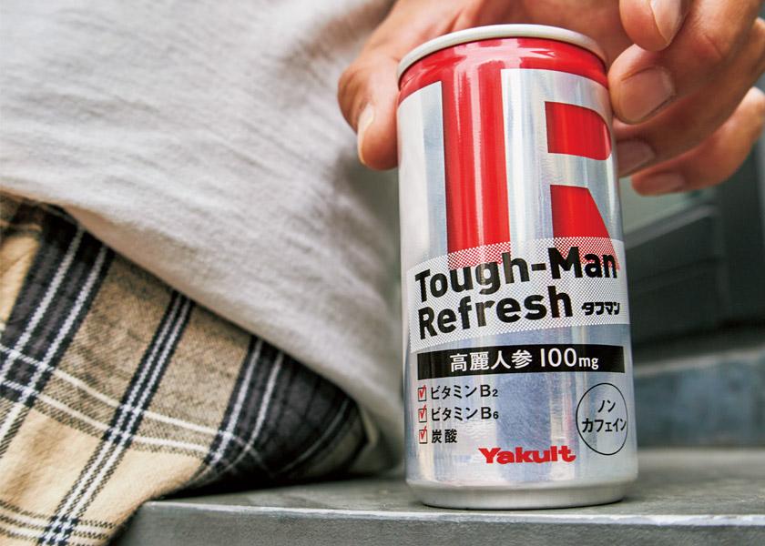 """忙しい僕らには〈ヤクルト〉の""""Tough-Man Refresh(タフマン リフレッシュ)""""!ノンカフェイン&ビタミン配合でカラダに優しくエネルギーチャージ!"""