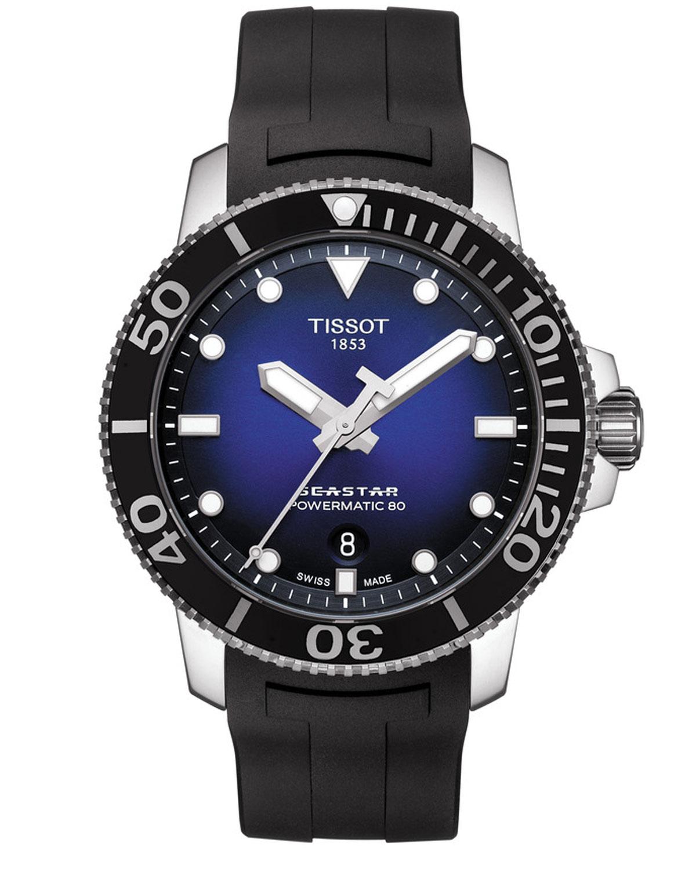 1f5e31df08 T120.407.17.041.00  深海を思わせる美しいブルーフェイス。外周に向かって深みを帯びるグラデーションが印象的なこのモデルは、ラバーストラップとのコンビで ...